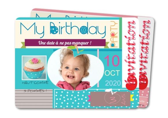 Carte invitation anniversaire Birthday party pomme (GR-428-RC1)