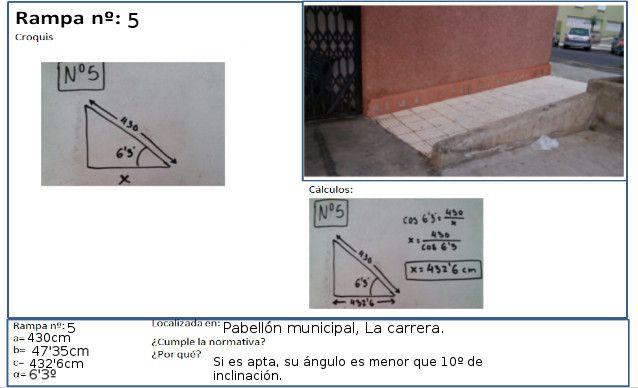 Situada en el pabellón del barrio de La Carrera, esta rampa cuenta con unas medidas de 430 cm y 6.3 grados. Para calcular su horizontal, seguimos el mismo proceso que en la rampa 2, o en cualquier rampa que no hayamos dividido en tramos, en este caso nos dio 432.6 cm