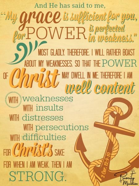 2 Corinthians 12:9-10. Christ is our anchor! No matter what we face his grace and power is sufficient for us.