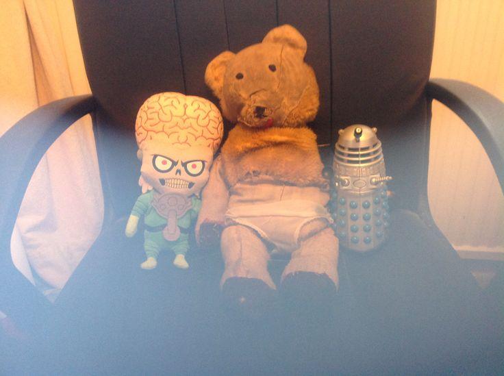 Cherished Possessions.  Mars Attacks alien, Dala my teddy and Dalek.