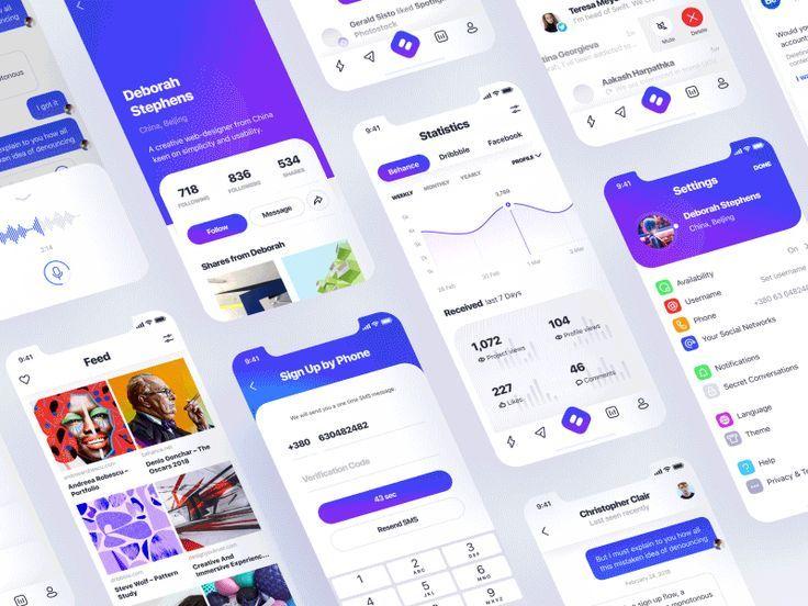 simple social ui kit design inspiration pinterest ui kit app rh pinterest com