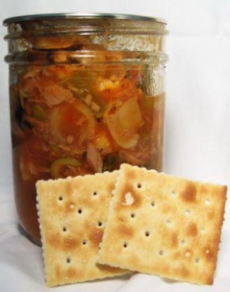 This is a very old recipe and I have made it for years with no issues. But if you are in doubt, use a pressure canner.  If theres enough acid added I dont think you need to pressure can but some newbies come along and think they are experts.  :)  This has to be one of the best antipasto recipes ever!  The original recipe came from one of those cookbooks where everyone submits a recipe but it has been modified.  The only reason for this is when my Dad and Sister were making it they werent…