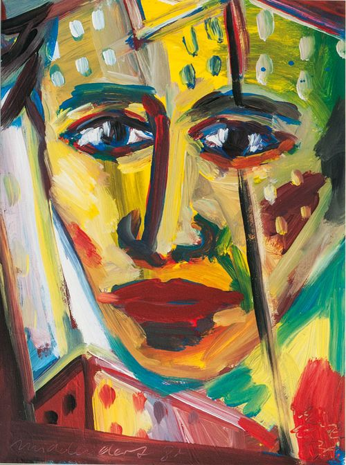 Helmut Middendorf (German, b. 1953), Half Head, 1987. Acrylic on paper, 51.5 x 38 cm.