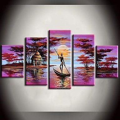 現代アートなモダン キャンバスアート 絵 壁 壁掛け 油絵の特大抽象画5枚で1セット アフリカ 湖 ボート ゴージャス 森 ピンク【納期】お取り寄せ2~3週間前後で発送予定【送料無料】ポイント