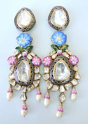 Vintage Antique Solid 22K Gold Diamond Polki Kundan Enamel Work Earring Pair Ind | eBay