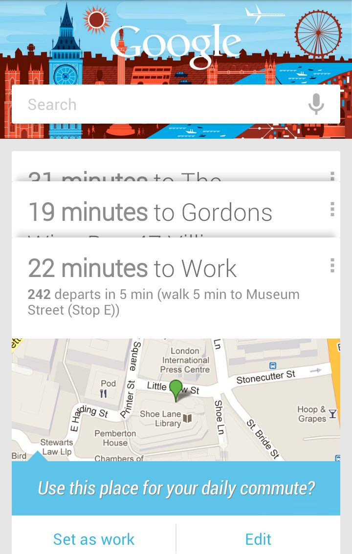 Google Now  Vertical elipses