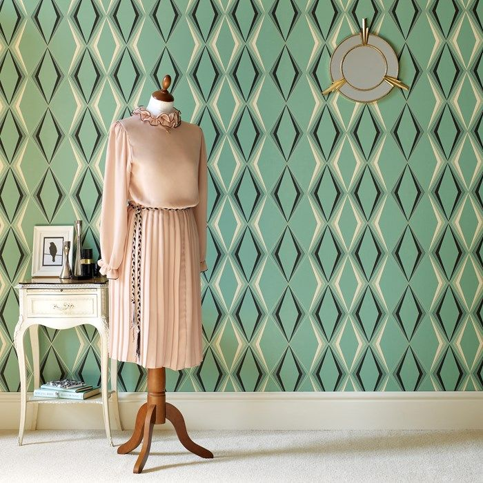Deco Diamond Wallpaper by Hemingway - Green Geometric Wall Coverings by Graham  Brown