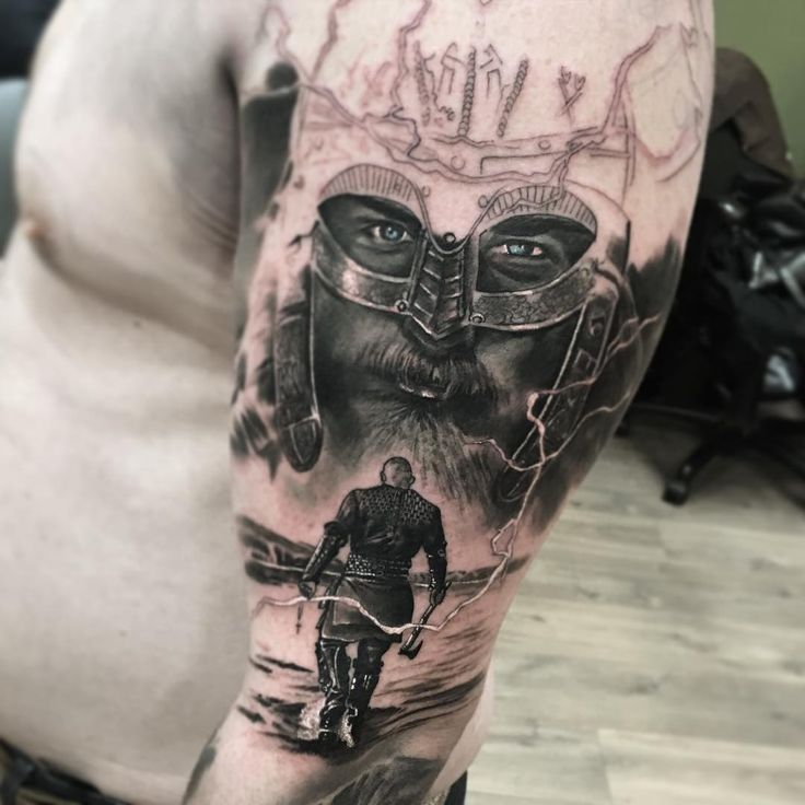 Realistic Sleeve Viking Tattoo                                                                                                                                                                                 More