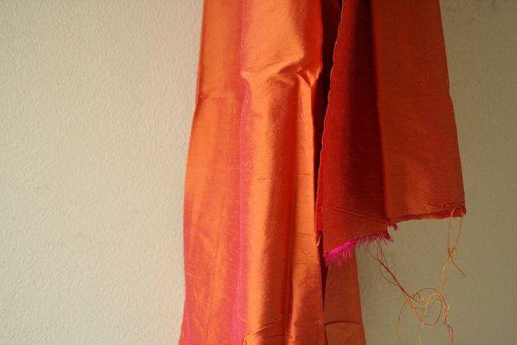 PURE SILK FABRIC / vermillion orange / etsy by runningthreads
