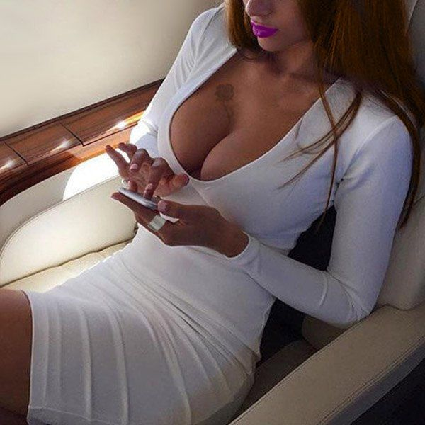 Sexy Women's U-Neck White Long Sleeve Dress