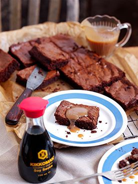 double chocolate brownies with soy caramel sauce