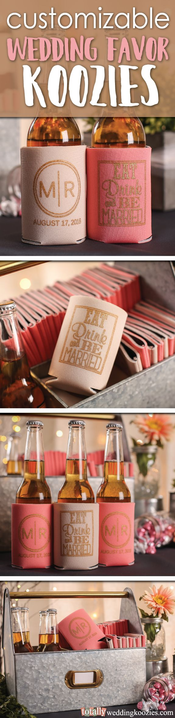 Our customizable wedding koozies offer a unique and fun way to thank your guests! This product is offered in 45 product colors with 23 imprint colors to choose from, your options are endless! Every wedding koozie order also comes with a FREE complimentary bride & groom koozie!  Use coupon code PINFREESHIP and receive FREE Ground Shipping in the Continental United States! Code is not valid with other coupon codes and is valid through April 4, 2017!