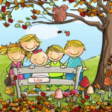 Herfst geboortekaartje met vijf kindjes. Baby op het hekje en grote broers en zussen er naast.