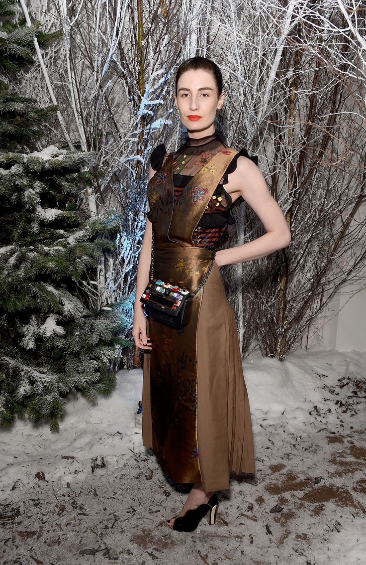 "Immersed in a winter wonderland, Erin O'Connor is ultra-cool in a Fendi Fall/Winter 2016-17 total look at the launch of ""The Reindeer 2016""."