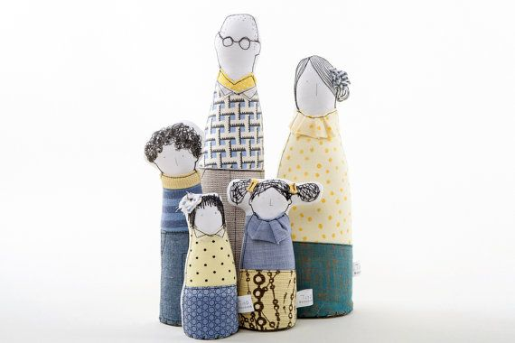 Family portrait - Soft sculptur - art dolls - parents, son and 2 daughters in Yellow & Blue  dots stripes and plaid ,timo-handmade eco dolls