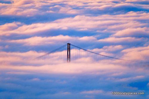 Lions Gate Bridge Enveloped in Fog, Vancouver, British Columbia, Canada