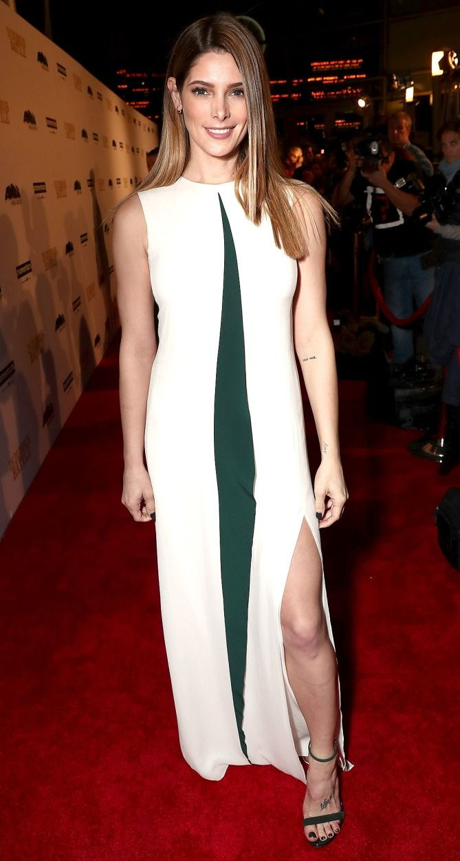 Ashley Greene in an Etro colorblock dress