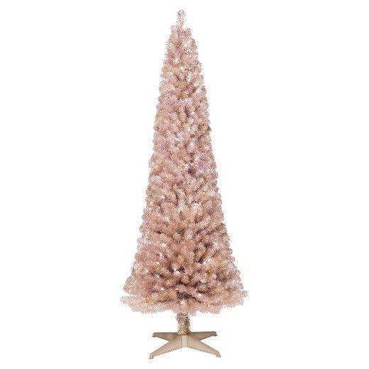 6ft Prelit Artificial Christmas Tree Rose Gold Slim Alberta Clear Lights - Wondershop™