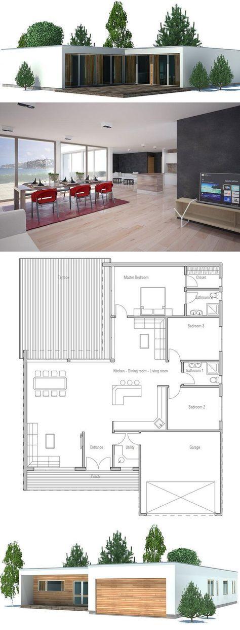 Modern minimalist House Plan with double garage