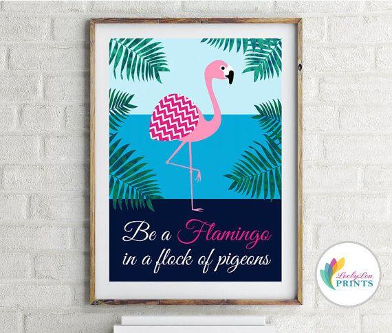 Essere un fenicottero - Blues - stampa Retro cucina, luminosa cucina stampa, Flamingo retrò, Retro parete arte