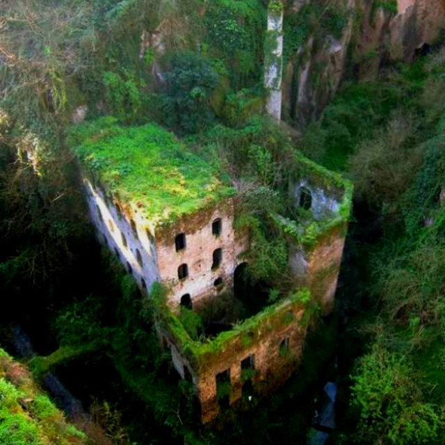 Abandoned mill in Sorento, Italy from 1866.  Reddit.com