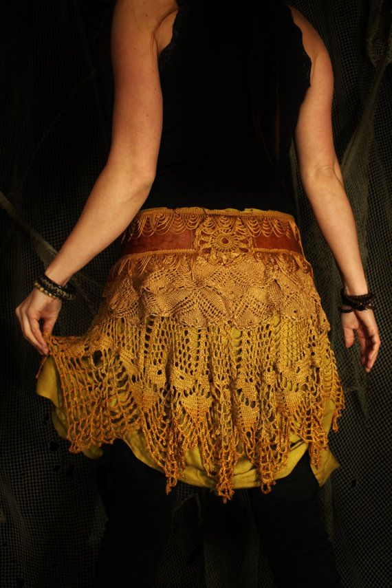 under the golden moon- leather and lace skirt belt    brown yellow warm golden color tattered ruffles raw tribal gypsy pixie bohemian rustic...