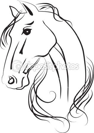 Isolated drawing of horse head — Stock Image #13198222
