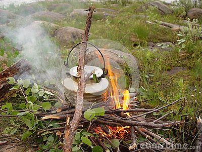 Campfire made coffee - wilderness Norway.
