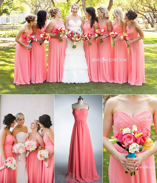 This is GORGEOUS  Long strapless coral bridesmaid dress 2014. #Coral Weddings