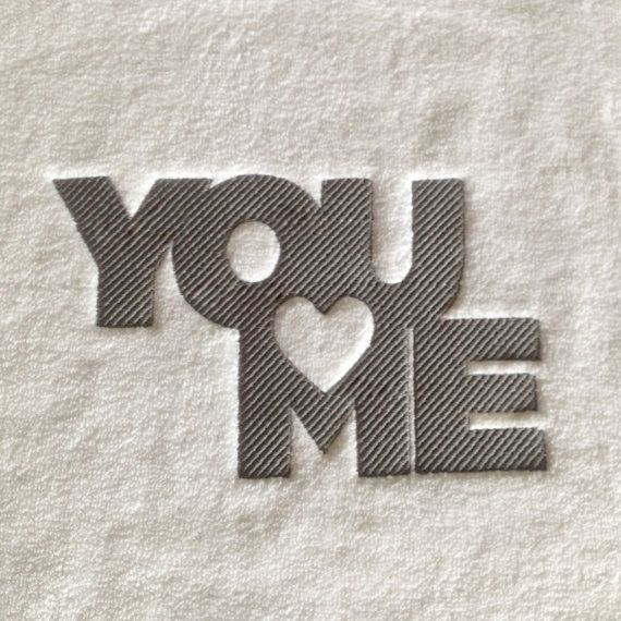 You and Me embroidery BATHMAT/Gift to by letsdecorateonline
