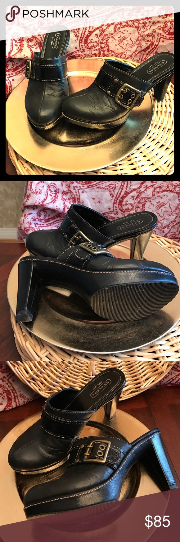 Coach High Heel Clogs Like new authentic Leather, Coach slip on clogs with 4 inch heel. No flaws. Coach Shoes Mules & Clogs