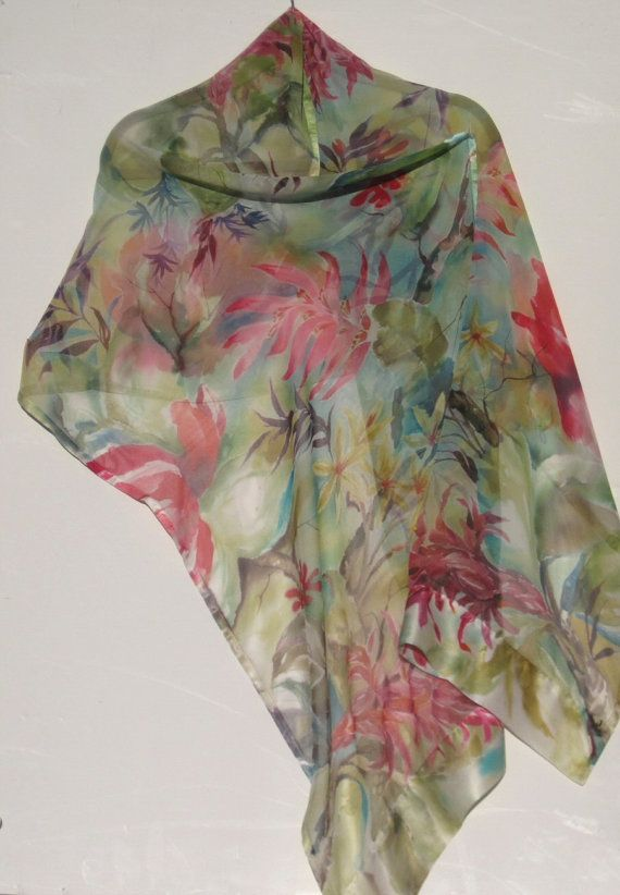 FORESTA fiori involucro di seta dipinte a mano di SilkSiren