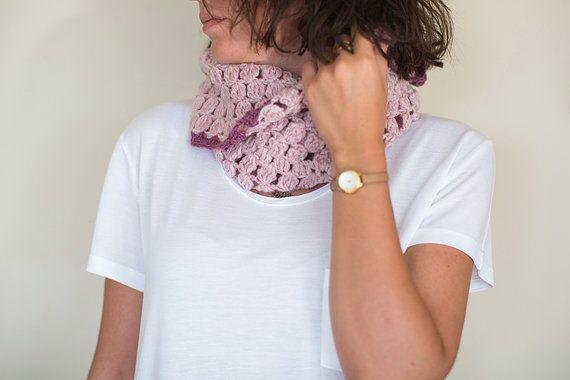 Crochet Neck Warmer , Crochet shawl, Pink Wrap