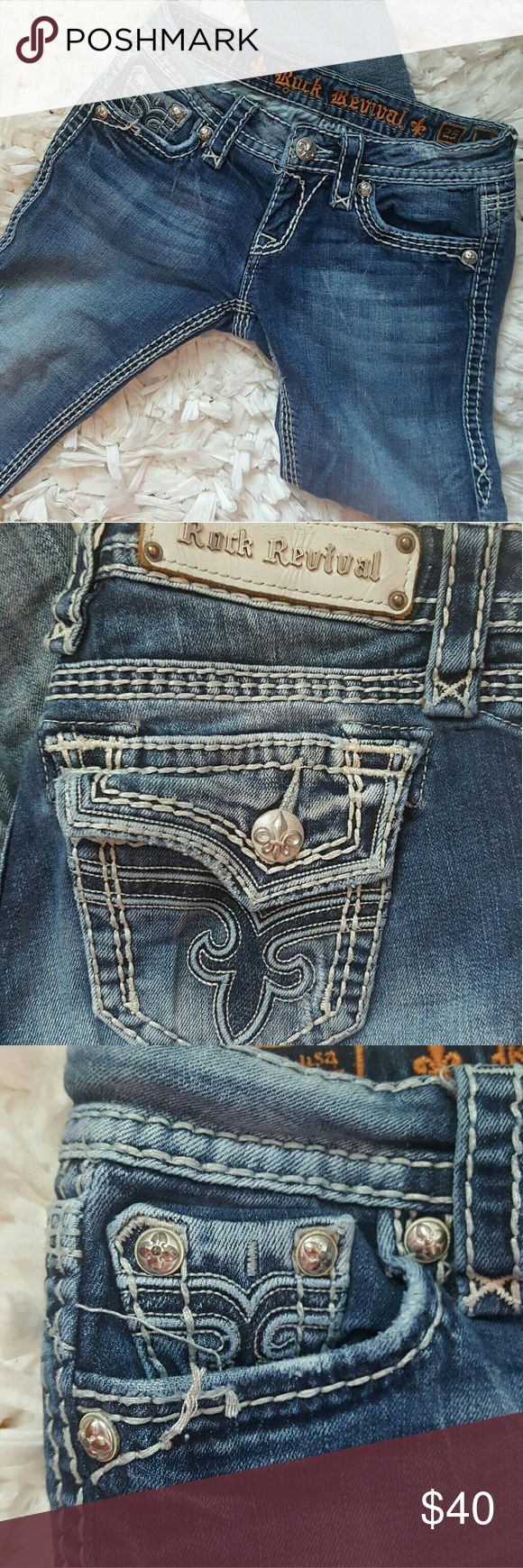 Rock Revival Kai Skinny Jeans Rock revival kai skinny jeans from Buckle. Obvious signs of wear but in good condition. Loose threading from right pocket. Very comfortable. These were my favorite pair of rocks! Only letting go because they no longer fit. Rock Revival Jeans Skinny