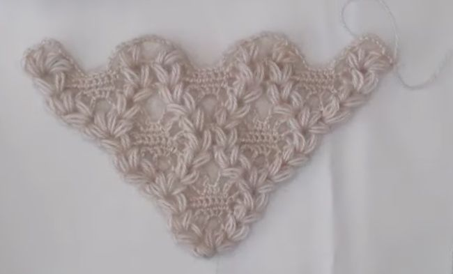 Magyarázatokkal ellátott kendő kötés minta földimogyoró előállítása - női oldal