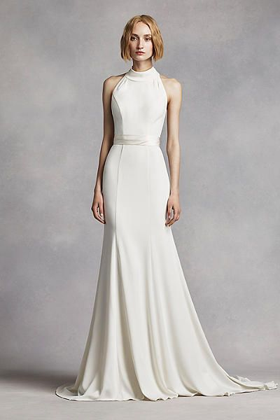 White by Vera Wang for David's Bridal High Neck Halter Wedding Dress