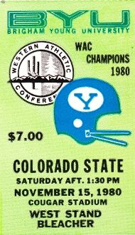 Best football gifts on Pinterest.http://www.shop.47straightposters.com/1980-COLORADO-STATE-VS-BYU-Football-Ticket-Art-80BYU.htm