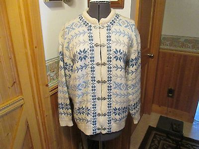 Vintage VOSSKNIT Norway 100% Wool Sweater Blue/White Nordic design LG