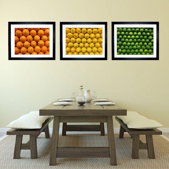 Set of 3 Citrus Fruit Art Print Kitchen Decor by jessicareisspix, $30.00 #homedecor #kitchendecor #photography