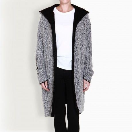 NADIA RAPTI LONG HOODED BOUCLE CARDIGAN
