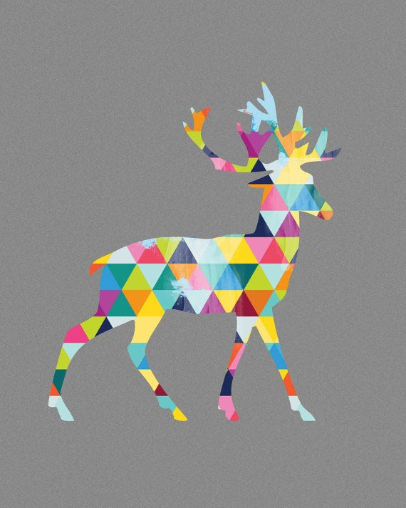 Deer Print Poster Stag Animal Design Bright Colorful Colourful Geometric Grey Gray Wall Art Home Decor Gift