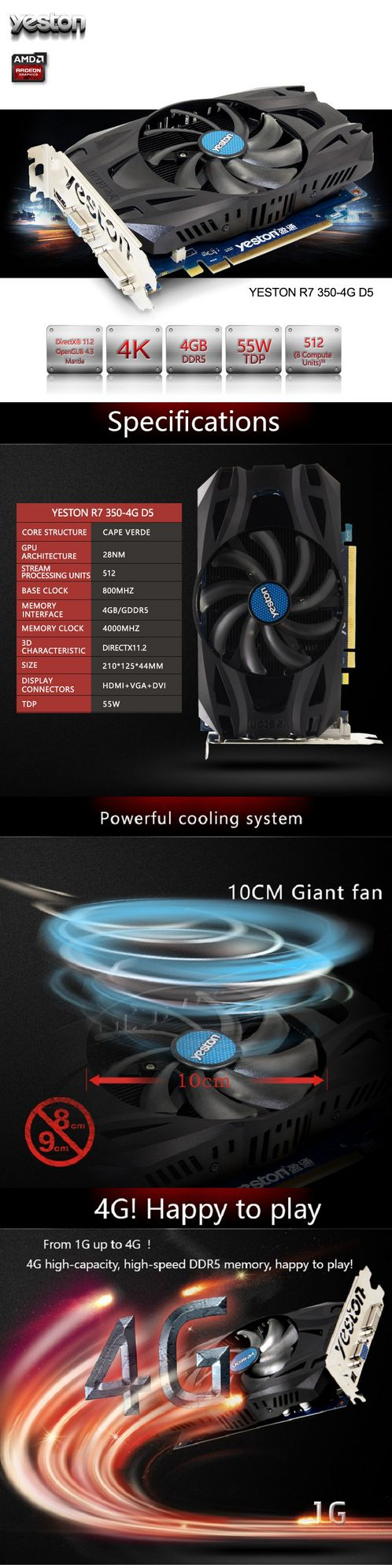 Yeston ATI Radeon R7 350 GPU 4GB GDDR5 128bit Gaming Desktop computer PC Video Graphics Cards support VGA/DVI/HDMI PCI-E X16 3.0      http://s.click.aliexpress.com/e/r7uBurF