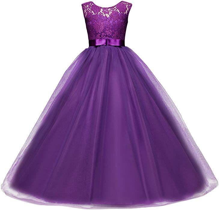 Girl Flower Party Dress Child Princess Prom Formal Wedding Bridesmaid Long Dress