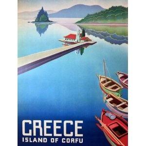 greek vintage poster - corfu