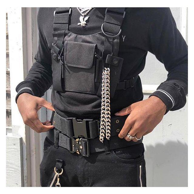 Man Black Chest Rig Waist Bag Hip Hop Street wear Functional Tactical Chest Bag