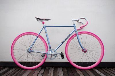 Fix Gears Bikes, Baby Blue, Bikes Design, Bubbles Gum, Colours Schemes, Pink Bikes, Cotton Candies, Bikes Riding, Pink Wheels