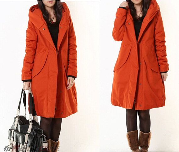 Army green/orange women coat/Long womens by AngelCity2012 on Etsy