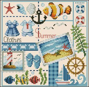 "Cross-stitch pattern for cushions ""Clothes-summer"" free 