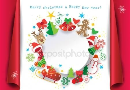PAPER ART, origami Christmas winter holiday symbols, icons greeting card. Happy new year decoration ornamental background elements snowman, bells, snowflakes, fir tree, socks, reindeer, stars, heart, ribbon bow, christmas ball, poster, banner, vector, blank page frame– stock illustration