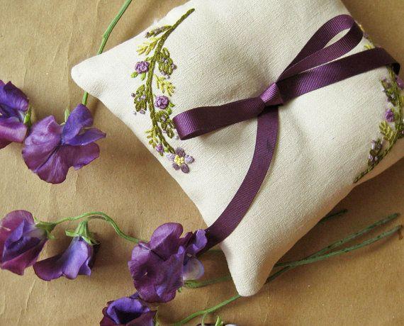 Custom ring pillow handembroidered purple flowers by oktak, $75.00